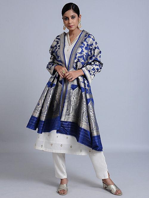 Blue-Bronze Handloom Benarasi Silk Dupatta
