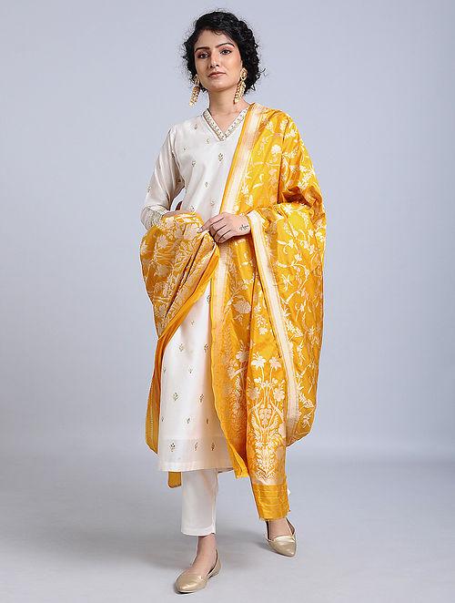 Yellow Handloom Benarasi Silk Dupatta