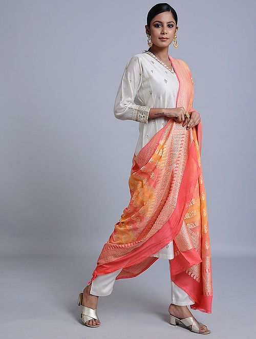 Orange-Pink Handloom Benarasi Chiffon Dupatta