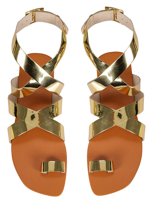 Gold Handcrafted Faux Leather Sandals