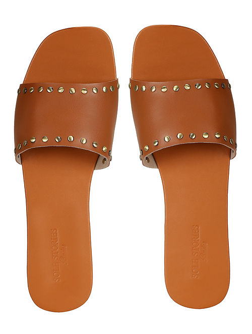 Tan Handcrafted Faux Leather Slip Ons