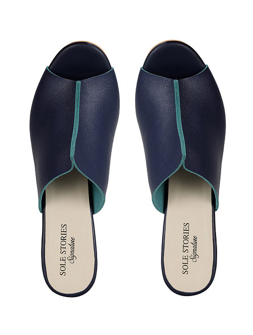 Blue Handcrafted Faux Leather Block Heels
