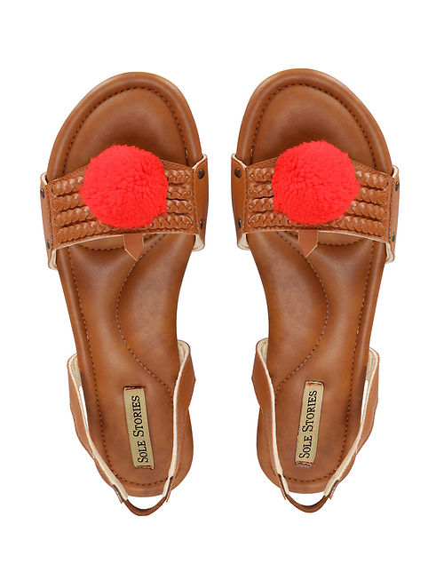 Tan Handcrafted Faux Leather Sandals