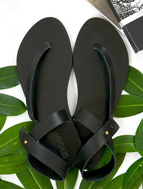 Black Ankle Strap Leather Sandal