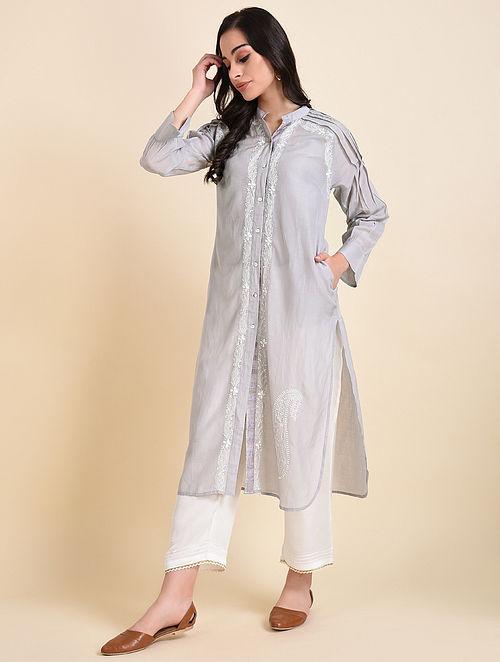 Snowdrop Chikankari Cotton Silk Kurta with Cotton Slip (Set of 2)