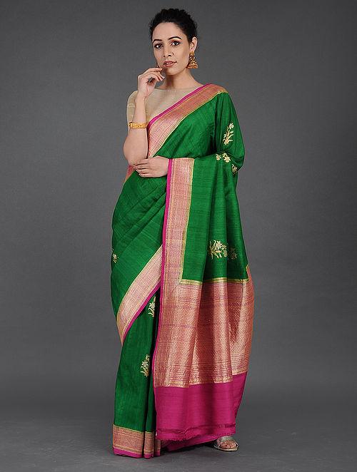 07781b6336 Buy Green-Pink Benarasi Tussar silk Saree Online at Jaypore.com