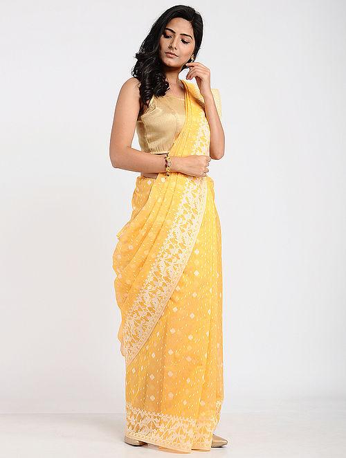 afa5e0847e5c1 Buy Yellow Benarasi Kora Cotton Saree Online at Jaypore.com