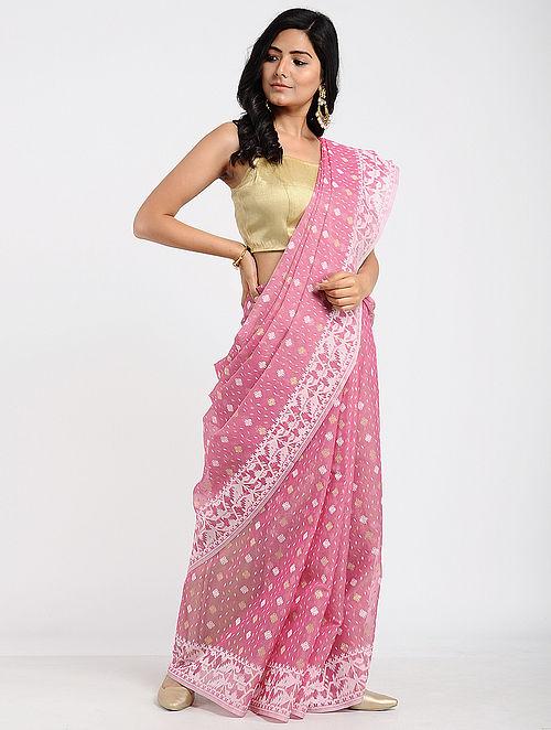 f63feb4bd97cb Buy Pink Benarasi Kora Cotton Saree Online at Jaypore.com