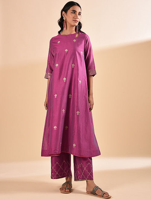 Fuchsia Embroidered Silk Cotton Kurta with Sequin Work