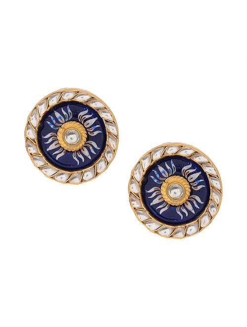 Blue Enameled Gold Tone Kundan Silver Earrings
