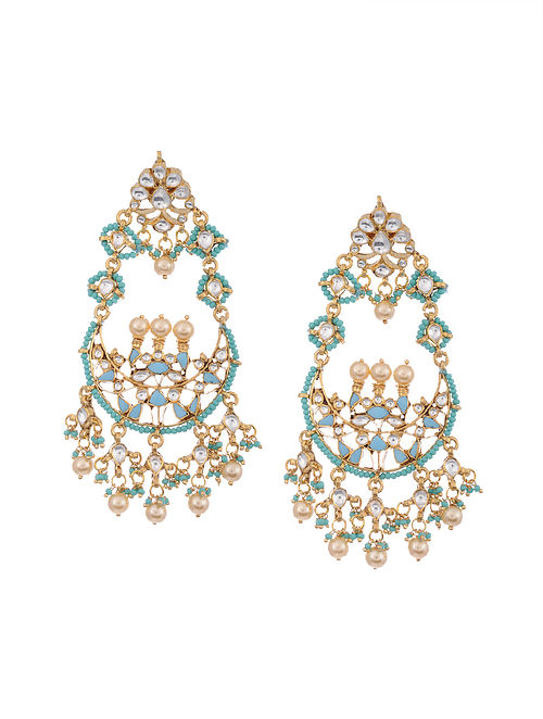 Gold Plated Silver Earrings with Turquoise and Pearls
