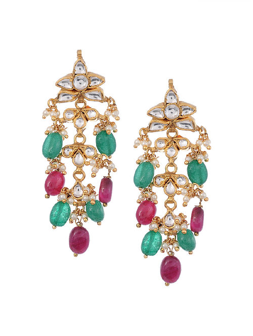 Gold Plated Silver Earrings with Red Onyx and Green Onyx