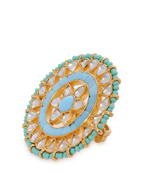 Gold Plated Silver Adjustable Ring with Turquoise