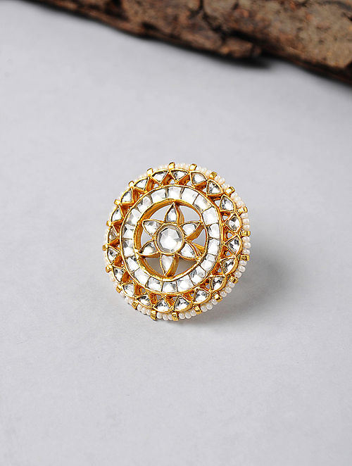 Kundan-inspired Gold-plated Adjustable Silver Ring with Pearls