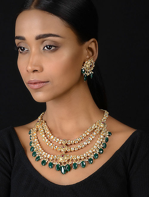 Red-Green Onyx Kundan-inspired Gold-plated Silver Necklace with a Pair of Earrings (Set of 2)