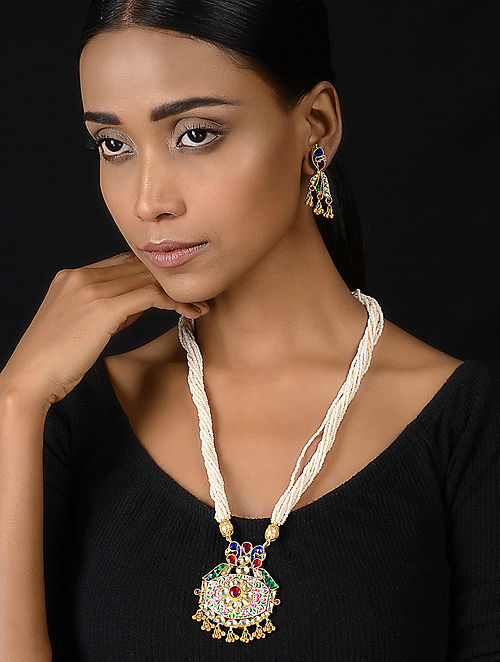 Red-Blue Gold-plated Silver Necklace with a Pair of Earrings (Set of 2)