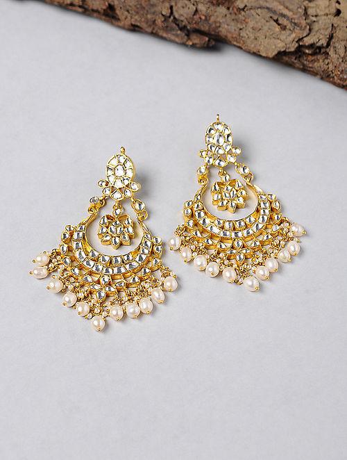 Kundan-inspired Gold-plated Silver Earrings
