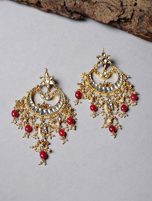 Garnet Kundan-inspired Gold-plated Silver Earrings