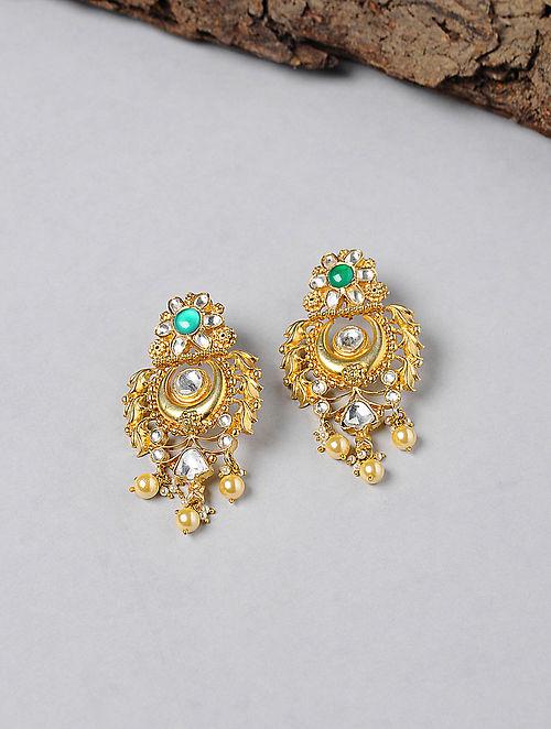 Green Onyx Kundan-inspired Gold-plated Silver Earrings