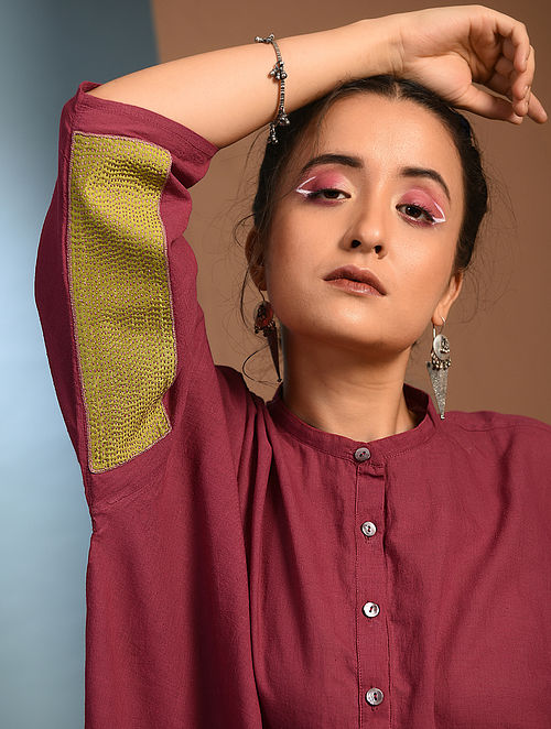 Red Handloom Cotton Kantha and Patch Work Free Size Kurta