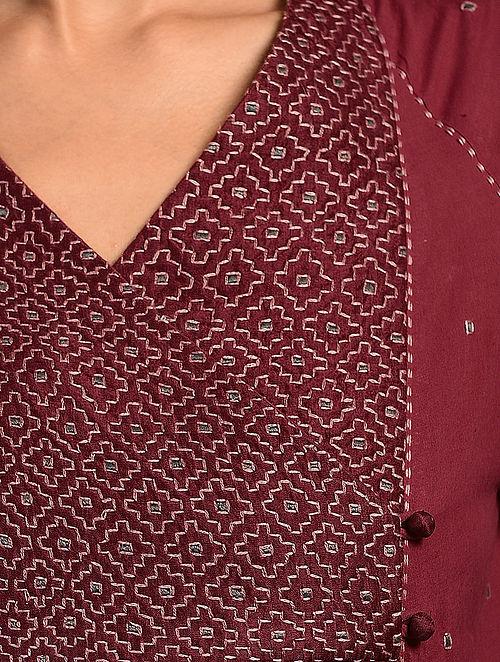 SHIULI - Red Handloom Cotton Kurta with Kantha Embroidery