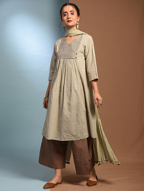 OTOSHI - Grey Handloom Cotton Kurta with Kantha Embroidery