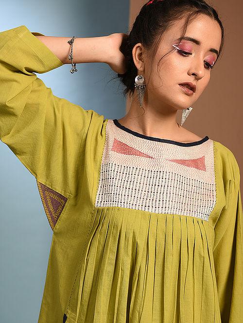 KRISHNACHURA - Green Handloom Cotton Kurta with Kantha and Patch Work