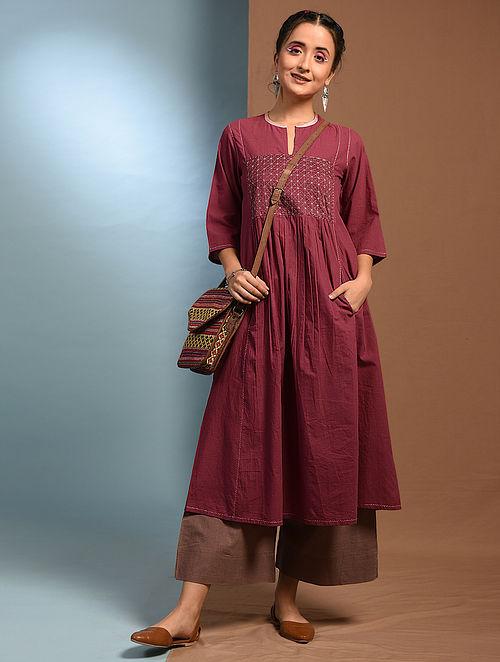 JHUMKO LATA - Red Handloom Cotton Kurta with Kantha Embroidery