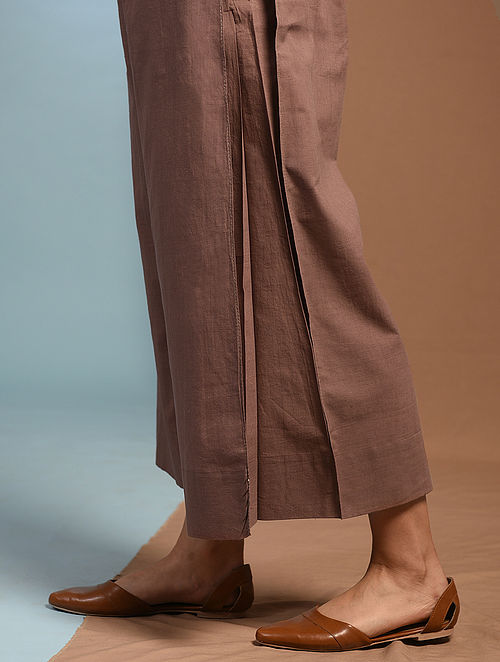 DHUTRO - Brown Tie-up Waist Handloom Cotton Pleated Pants with Kantha Embroidery