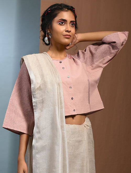 Pink Kantha Embroidered Handloom Cotton Blouse