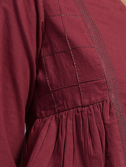 SHIRISH - Red Handloom Cotton Blouse with Kantha and Patch work