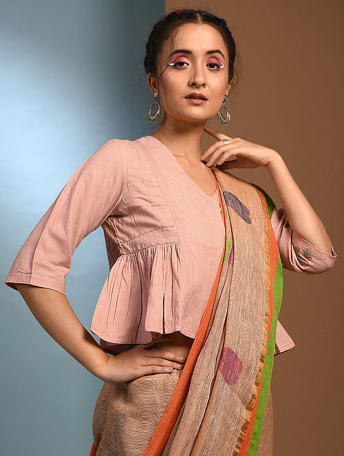 SAHNDHYAMANI - Pink Handloom Cotton Blouse with Kantha and Patch work