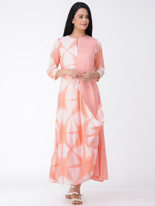 Peach-White Shibori-dyed Cotton Drape Dress (Set of 2)