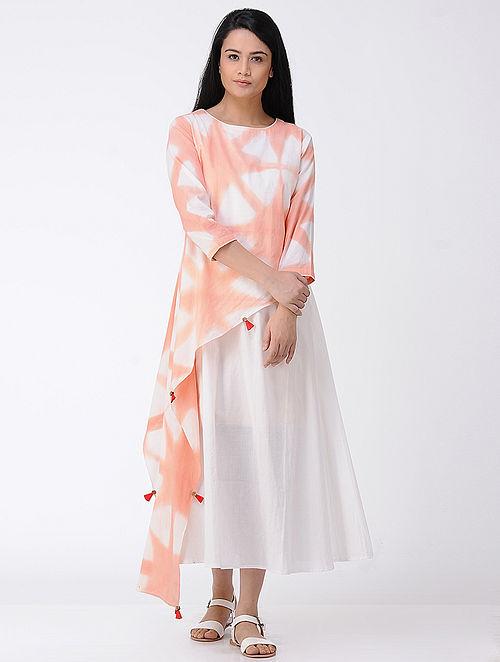 Peach-White Layered Shibori-dyed Cotton Dress (Set of 2)