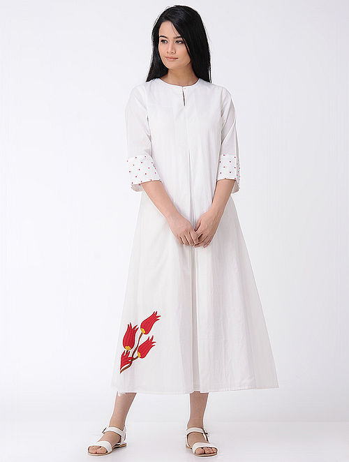 White Box-pleated Cotton Dress with Applique