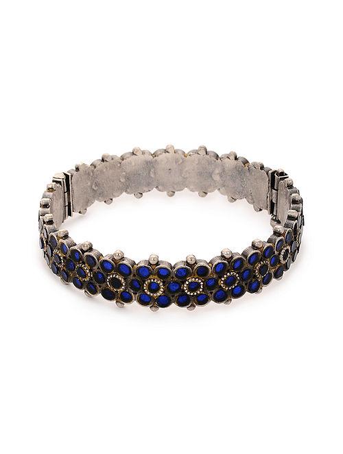 Blue Glass Tribal Silver Bangle (Bangle Size: 2/4)