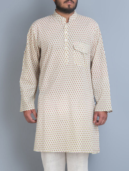 Off-White-Pink Lotus Printed Mandarin Collar Full Sleeves Cotton Kurta