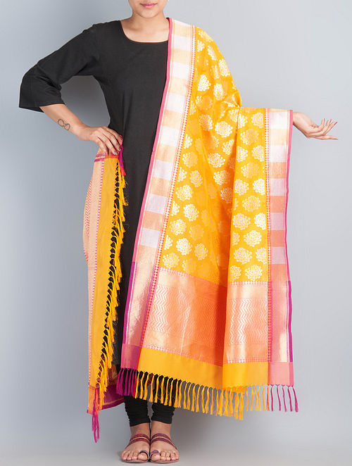 Yellow-Golden Handwoven Silk Dupatta by Shivangi Kasliwaal