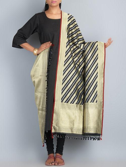 Black-Golden-Silver Handwoven Silk Dupatta by Shivangi Kasliwaal