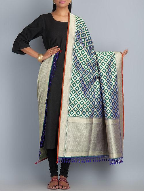Green-Golden-Blue Handwoven Silk Dupatta by Shivangi Kasliwaal