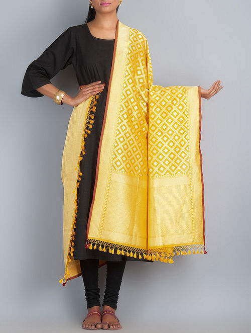 Yellow-Golden-Silver Handwoven Silk Dupatta by Shivangi Kasliwaal