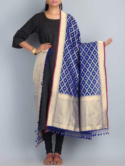 Navy Blue-Golden-Silver Handwoven Silk Dupatta by Shivangi Kasliwaal