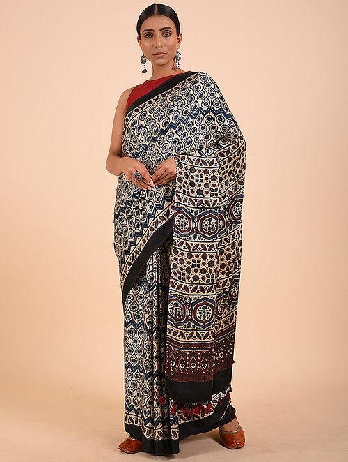 Beige-Blue Ajrakh Modal Silk Saree