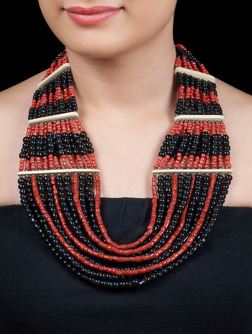 Multistring Black - Red Beads Necklace by Silver Holic