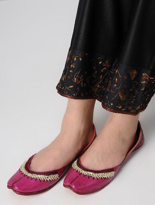 Pink Gota Embroidered Leather Juttis