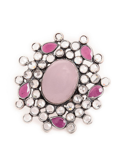 Pink Adjustable Silver Ring