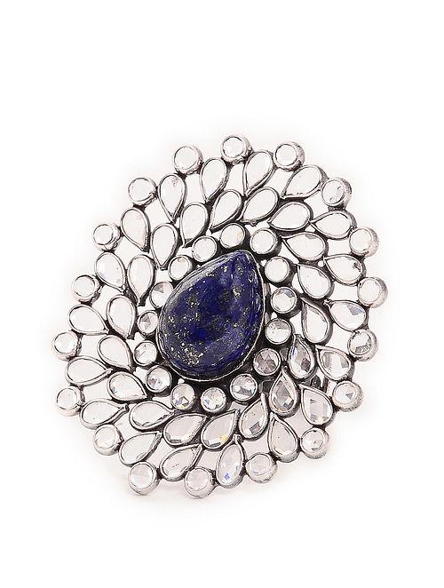 Blue Adjustable Silver Ring