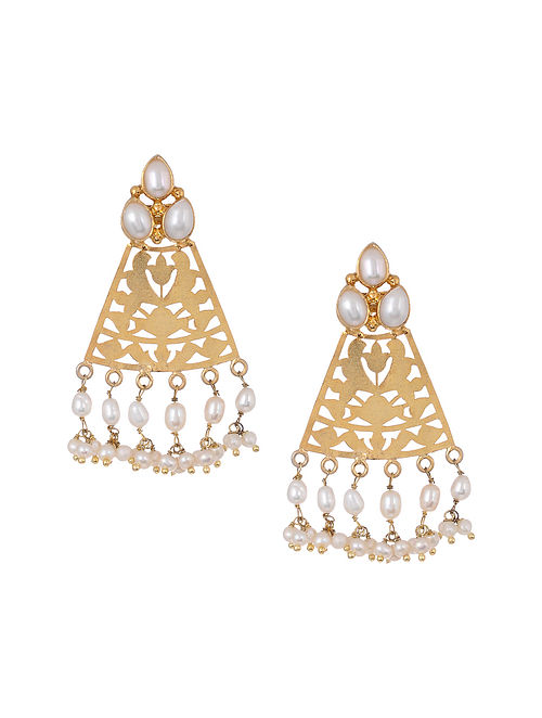 Gold Tone Silver Earrings with Freshwater Pearls
