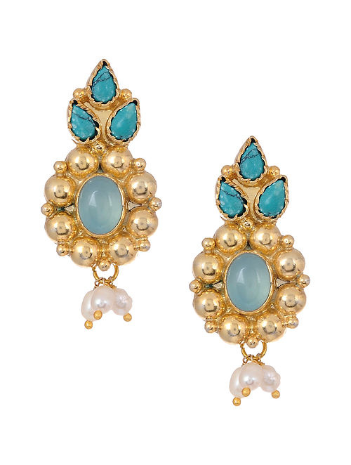 Chalcedony and Turquoise Gold Tone Silver Earrings with Pearls