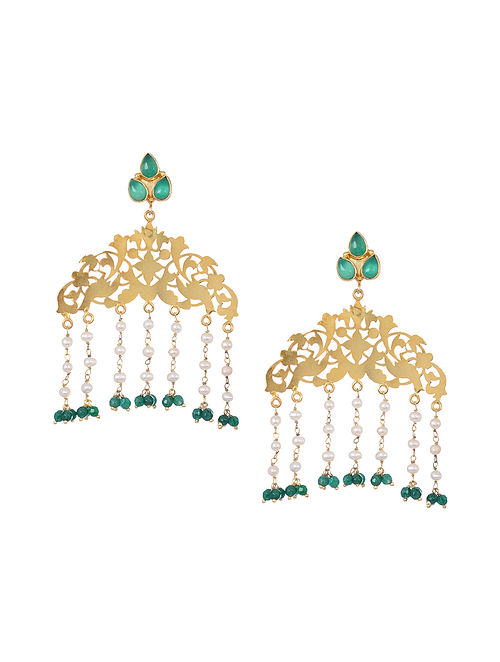 Green Onyx Gold Tone Silver Earrings with Pearls
